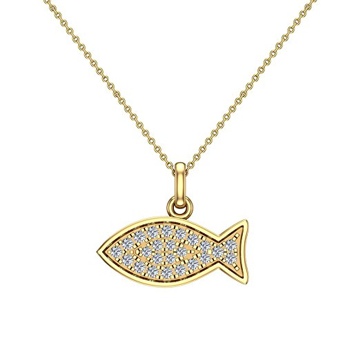 0.27 ct Pave Fish Dainty Diamond Necklace Pendant 14K Yellow Gold (P0191)