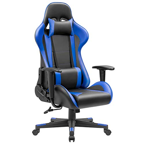JUMMICO Ergonomic Gaming Chair Leather Racing Computer Chair High Back Swivel Bucket Seat Desk Chair Adjustable Executive Office Chair Headrest and Lumbar Support (Blue)