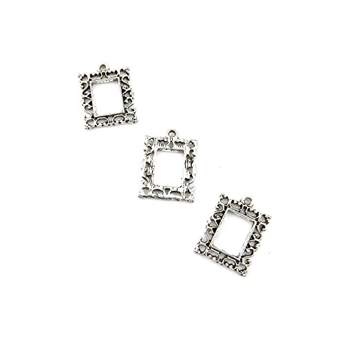 10 Pcs Jewelry Making Charms 592GQ Pattern Frame Antique Silver Fashion Finding for Necklace Bracelet Pendant Crafting - Charm Frames Metal