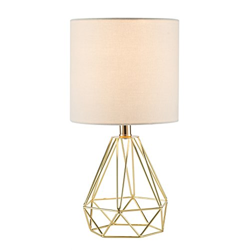 CO-Z Modern Table Lamp with White Fabric Shade, Gold Desk Lamp with Hollowed Out Base 18 Inches in Height for Living Room Bedroom Dining Room