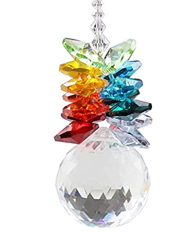 Anna Crystalworld Austria Crystal Pineapple Ball Prisms Rainbow Octogon Chakra Suncatcher (30mm Crystal (Crystal Suncatcher Chakra)