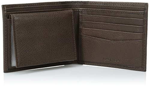 Nautica Men's Milled Leather Passcase Wallet, Brown