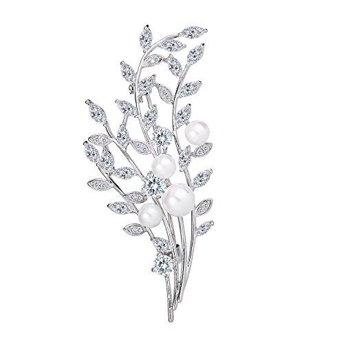 BriLove Women's Wedding Bridal CZ White Simulated Pearl Leaf Vine Twig Brooch Pin Clear Silver-Tone (Silver Tone Leaf Pin Brooch)