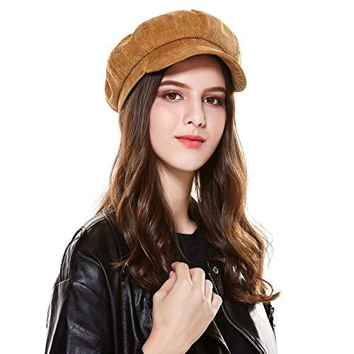 Floppy Corduroy Newsboys Hats for Women Khaki by Kajeer
