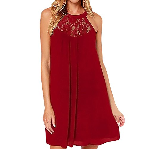 ◐OFEFAN◑ Women's Sleeveless Lace Patchwork Loose Casual Mini Chiffon Dress Wine Red