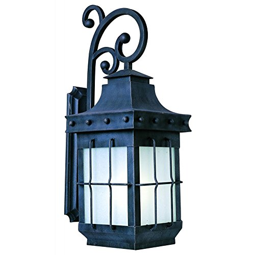 Maxim Lighting 86085FSCF One Light Country Forge Frosted Seedy Glass Wall Lantern, Black