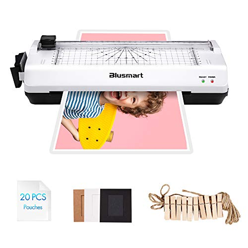 5 in 1 Blusmart Laminator Set, A4, Trimmer, Corner Rounder, 20 Laminating Pouches, Photo Frames, White ()