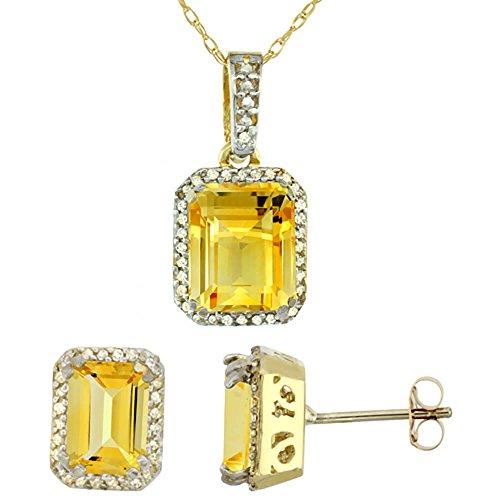 Jewellery World Bague en or jaune 9carats octogone naturelle Citrine Boucles d'oreilles et pendentif Set Accents de diamant
