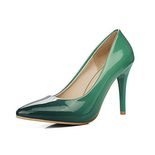 AllhqFashion Damen Ziehen auf Spitz Zehe Hoher Absatz Lackleder Rein Pumps Schuhe Grün
