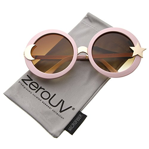 zeroUV - Women's Moon And Star Metal Temple Oversize Round Sunglasses 55mm (Pink / - Sunglasses And Moon Sun