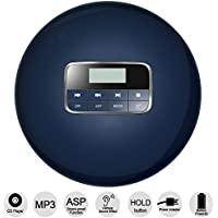 HONGYU Slim Portable CD Player With LCD Display, Shockproof Function Anti-Skip Protection Personal Compact Disc Player With Earphone And Power Adapter (Blue)