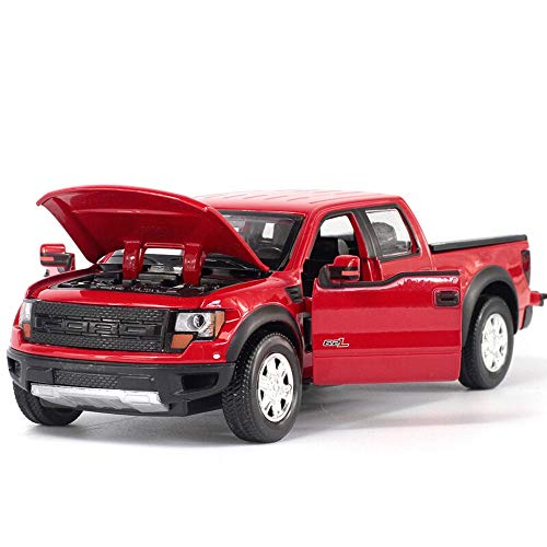 (Bseion Children's Toy Vehicle Alloy Model Car 1:32 Pickup Off-Road Model Toy Vehicle with Lights Back to The Force Pickup Truck Children's Gift (17.565CM) ( Color : Red ))