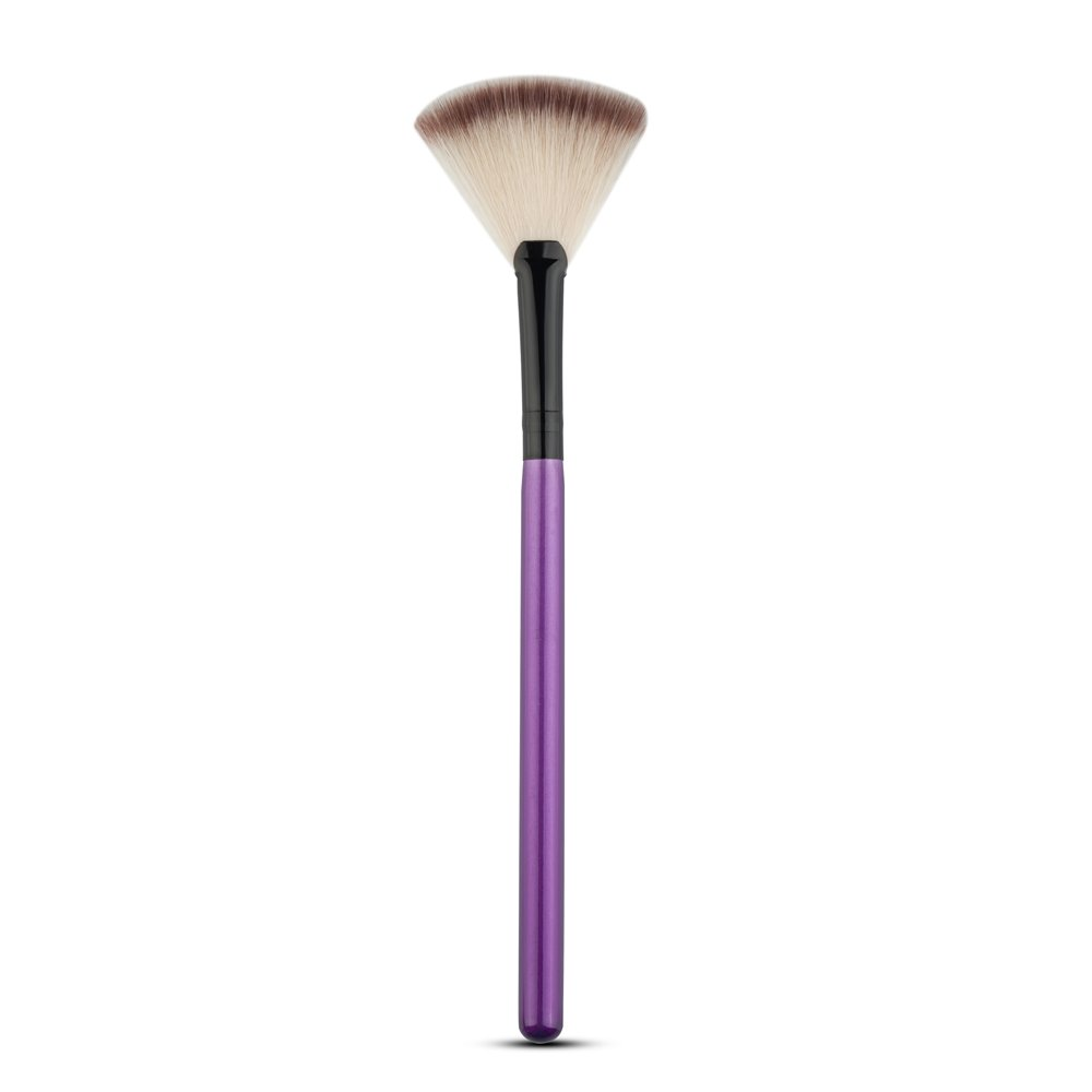 Oyfel Fan Pincel Maquillaje Profesional sintéticas para Sombra de Maquillaje Blush Fundación Highlighter Polvo Base de Maquillaje Anti-cerne 1pcs, Azul, 18,5 * 0,8 * 0,8cm