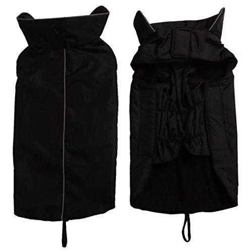 JoyDaog Fleece Lined Warm Dog Jacket for Winter Outdoor Waterproof Reflective Dog Coat Black XXL ()