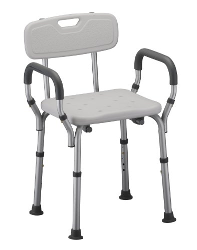 Nova Back Glass - NOVA Shower and Bath Chair with Back & Arms, Quick & Easy Tools Free Assembly, Lightweight and Seat Height Adjustable, Great for Travel