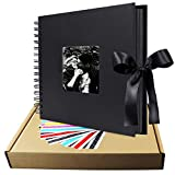 Scrapbook Album, 12 inches Black LUNIQI Photo Collection with Phonto Opening and Gift Bow Knot, 80 DIY Pages Craft Papes for Wedding, Valentines, Graduated, Party Day, Love Moment Recorder (12x12 inches)