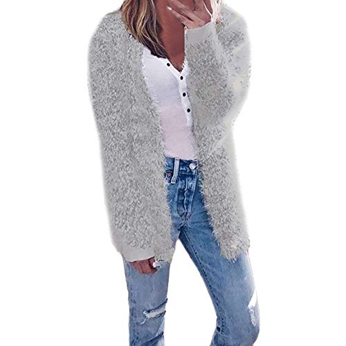 GOVOW Cardigan Casual for Women Hot sale Fashion Autumn Winter Long Sleeve Coat(US:16/CN:XL,Gray )