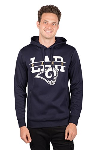 Icer Brands NFL Los Angeles Rams Men's Fleece Hoodie Pullover Sweatshirt Zipper Pocket, Medium, Navy