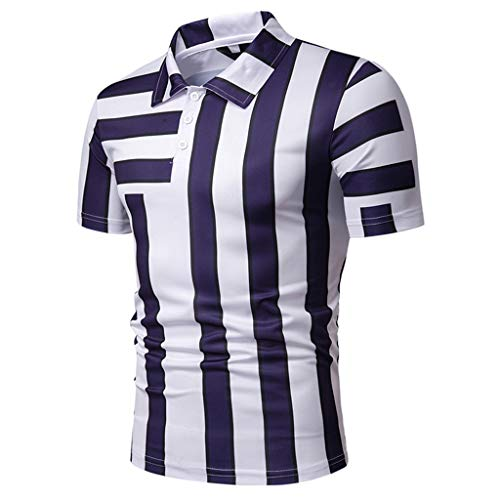 Men's Fashion Short Sleeve Stripe Painting Large Size Casual Top Blouse Shirts Navy