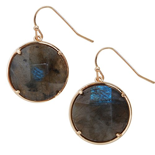 Simulated Gemstone Dangles - Statement Dangling Gold-Tone Drop Earrings for Women, by Humble Chic NY
