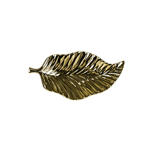 Sagebrook Home 12433-01 Decorative Ceramic Leaf Tray, 17 x 8.25 x 2.5 Inches, Gold by Sagebrook Home