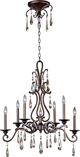 - Maxim 14308HR Chic 6-Light Chandelier, Heritage Finish, Glass, CA Incandescent Incandescent Bulb , 60W Max., Wet Safety Rating, Standard Dimmable, Glass Shade Material, 672 Rated Lumens