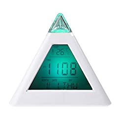 Topbeu Triangle 7 Color LCD Digital Alarm Clock Time/Date/Temperature Display