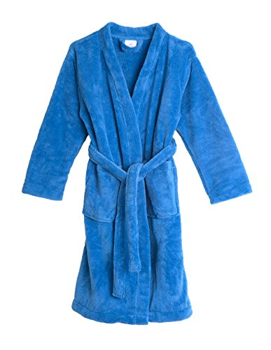 TowelSelections Big Girls' Robe, Kids Plush Kimono Fleece Bathrobe Size 10 Cendre Blue - Blue Girls Robe
