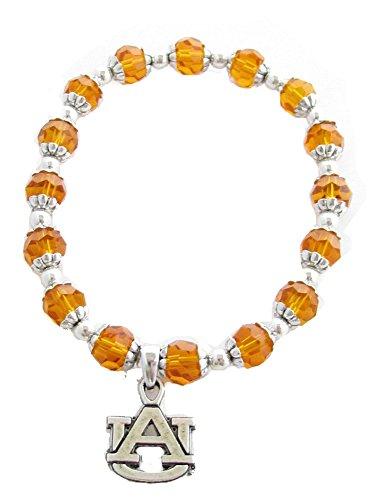 Auburn Tigers AU Orange Glass Beaded Stretch Bracelet Silver AU Silver Plated Charm Jewelry