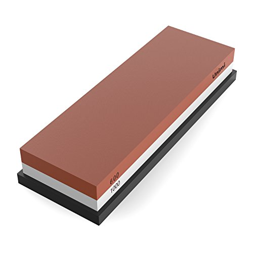 Sharpening Stone, Unimi Dual-Sided 600/1000 Grit Combination Whetstone Knife Sharpener, Containing Rubber Stone Base (600/1000Grit)