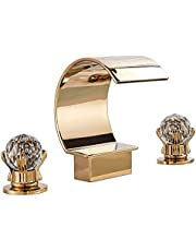 Rozin Bathroom 8-inch and upwards Widespread Basin Faucet Arc Waterfall Spout 2 Knobs Tub Filler Tap Gold