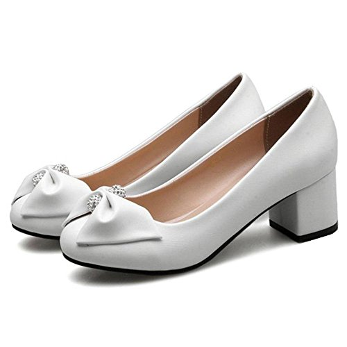 Casual with and All Macth Bowtie Low Slip SJJH Flats White on Heel Shoes 5TwYqtAnAx