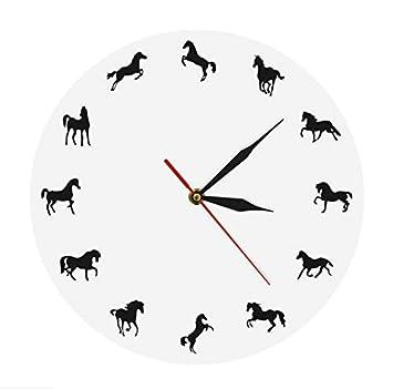 Knncch Silueta del Caballo Reloj de Pared Entrenamiento del Caballo Diseño Minimalista Moderno Reloj de Pared Decorativo Ecuestre Decoración de la Pared ...