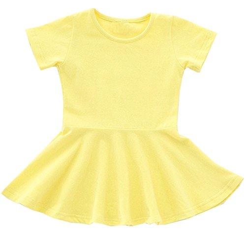 Sleeve Cardigan Ruffle Short (GSVIBK Baby Girls Cotton Dress Toddler Infant Ruffles Cotton Dresses Long Sleeve Solid Ruffle Dress Yellow 671 110)