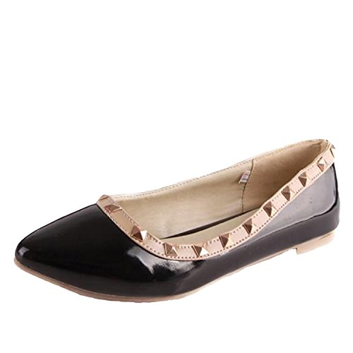 Nonbrand Women's spike studded ballerinas pointed toe shoes ballet flats Black pBATHy