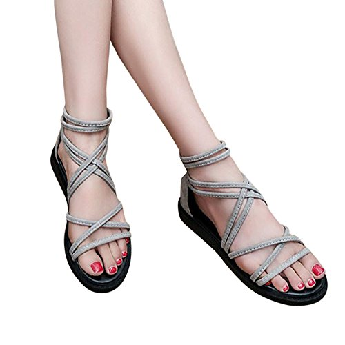 Sandalias, FAMILIZO Vendaje Zapatos Verano Sandalias Mujeres Plana Moda Sandalias CóModas Zapatos De Damas Gris