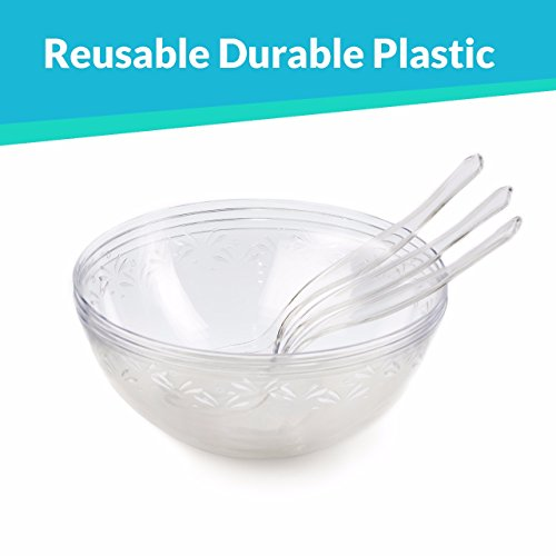 Upper Midland Products Clear Plastic Serving Bowl set, 6, 64 OZ Disposable Serving Bowls With 6 Hard Plastic Serving Spoons - Perfect for Salads and Wedding Parties by by Upper Midland Products (Image #2)