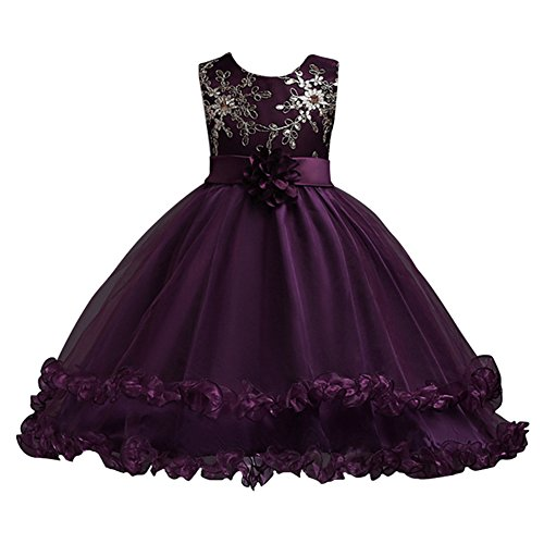 LSERVER Embroidered Mermaid Dresses For Girls Princess Flower Little Big Girl Tulle Dress (Little Mermaid Purple Dress)