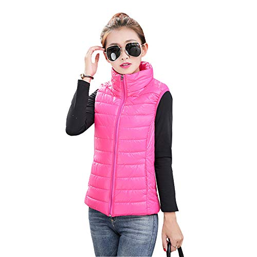 YIHIGH Womens Down Gilet Jacket Coat - Stand Collar Sleeveless Body Warmers Vest Jacket Zip Up Vest Rose Red