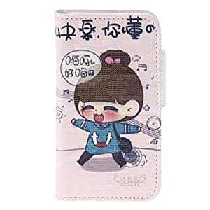 Buy Little Happy Girl Pattern PU Full Body Case with Stand and Card Slot for iPhone 4/4S