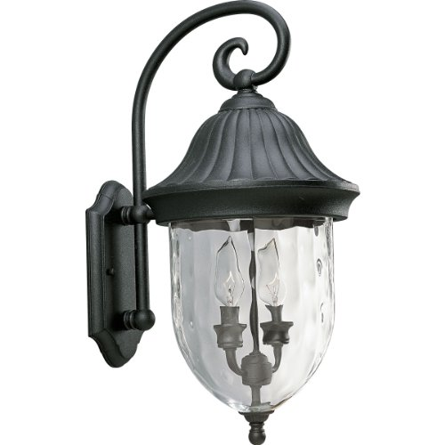 Wall Small Coventry (Progress Lighting P5829-31 2-Light Chain Hung Lantern with Optic Hammered Clear Glass, Textured Black)