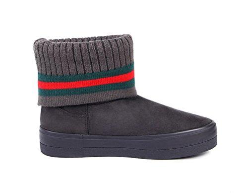 Boots Ankle Snow amp;Mates Womens Warm Fashion Inside Dark Slip T Plush Sweater Gray on Cuff Knit Short 7pq6nO
