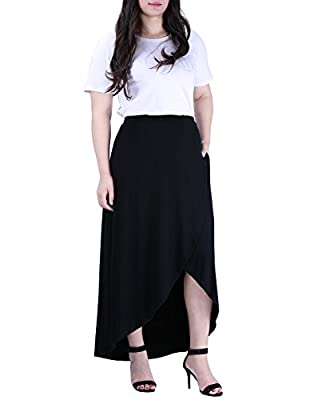 HDE Women's Plus Size High Low Long Wrap Style Maxi Skirt with Pockets