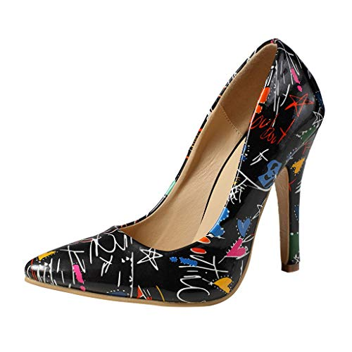 Boomboom Lovely Women High Heel Shoes Wild Pointed Shallow Stiletto Single Shoes(Black,US 7)