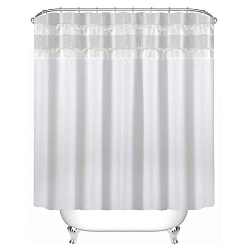 Uphome Bathroom Shower Curtain, Plain White Heavy Duty Waffle Weave Fabric Bath Stall Curtain Set, Hotel Quality Waterproof and Mildew Resistant, 72''W x 72''L by Uphome (Image #1)