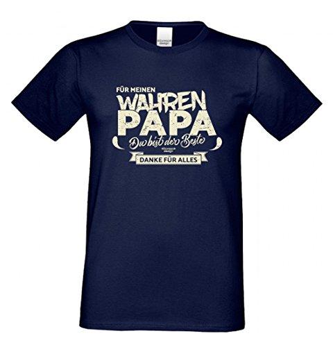 T-Shirt als Geschenk für den Vater - Danke für Alles - Ein Dank für den wahren Papa mit Humor zum Vatertag oder einfach so, Größe S Farbe 05-Navy