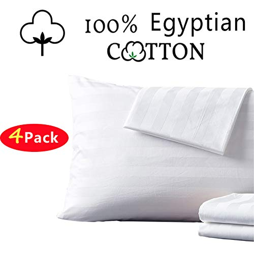 Shunjie.Home 100% Egyptian Cotton Pillow Protectors Set of 4,400 Thread Count Sateen Weave White Pillowcase, Easy Care Zippered Style Pillow Covers - (King)
