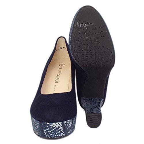 Bloque Moda Tacón Corte Zapatos Peter Kaiser Irmgard Mujeres En Gamuza Notte NOTTE SUEDE