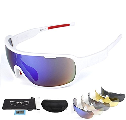 Lorsoul Polarized Sports Sunglasses UV400 With 5 Interchangeable Lenes for Men Women Cycling Running Driving Fishing Golf Baseball Glasses (White) ()