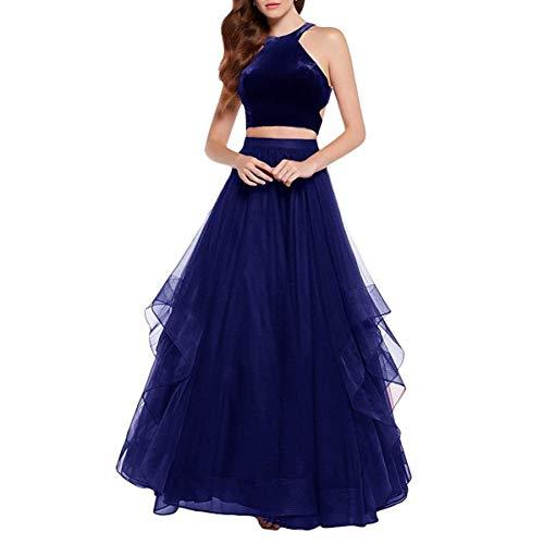 BBCbridal Women\'s Velvet Tulle Long Evening Dresses A Line Halter ...